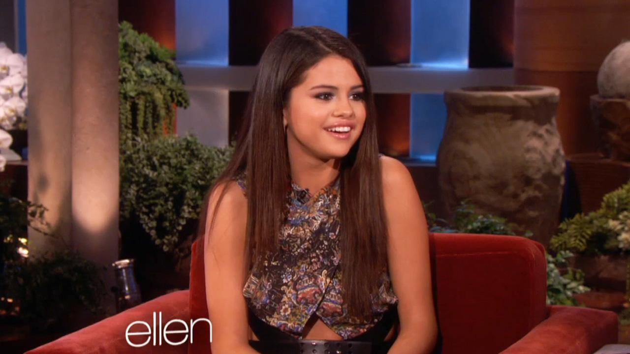 Selena Gomez talks to Ellen about meeting Brad Pitt and her past relationship with Justin Bieber.