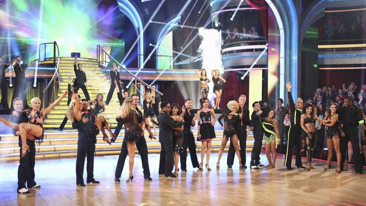 The cast of Dancing With The Stars appear in a photo from the fifth week of the show on April 15, 2013.