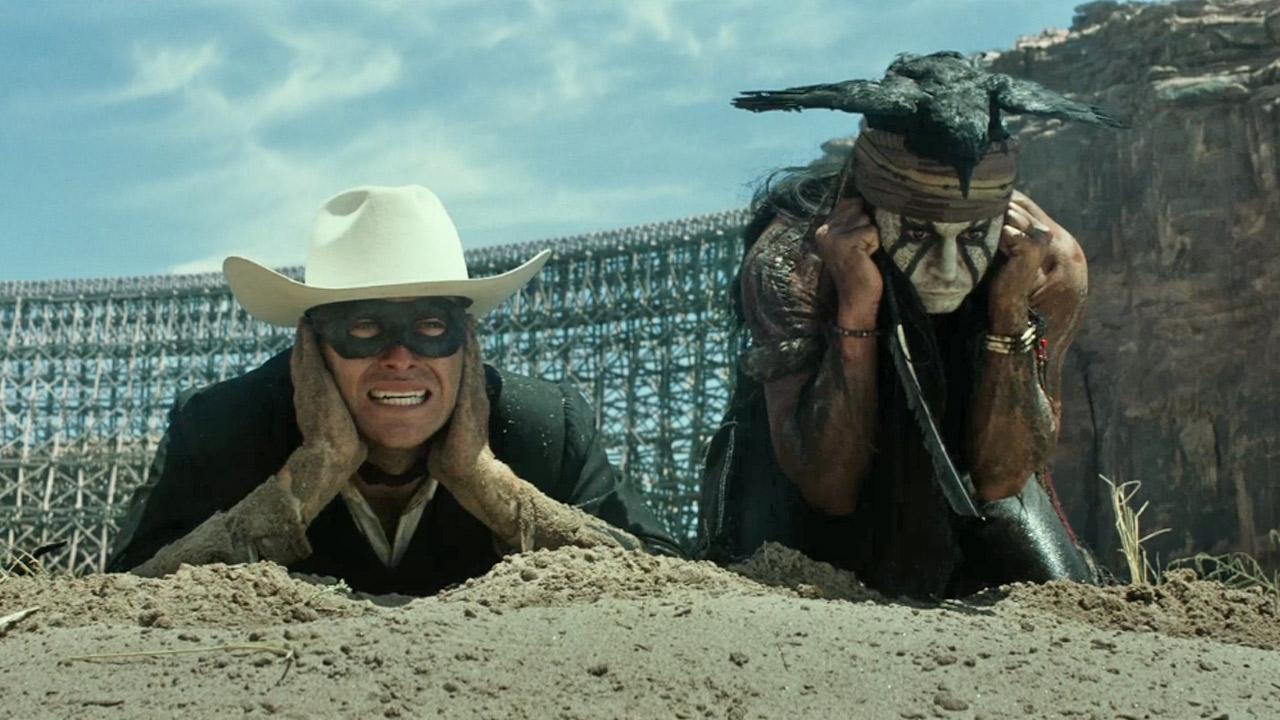 Johnny Depp and Armie Hammer appear in a scene for the 2013 movie The Lone Ranger.