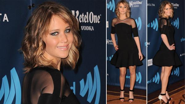 Jennifer Lawrence arrives at the 24th Annual GLAAD Media Awards at the JW Marriott on Saturday, April 20, 2013 in Los Angeles. - Provided courtesy of AP / Jordan Strauss