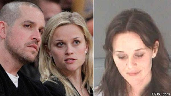 Actress Reese Witherspoon, right, and her fiance, Jim Toth, watch an NBA basketball game on Tuesday, Jan. 4, 2011. / Reese Witherspoon appears in a photo from a mugshot taken on April 20, 2013. - Provided courtesy of AP Photo/Jae C. Hong / Atlanta Department of Corrections