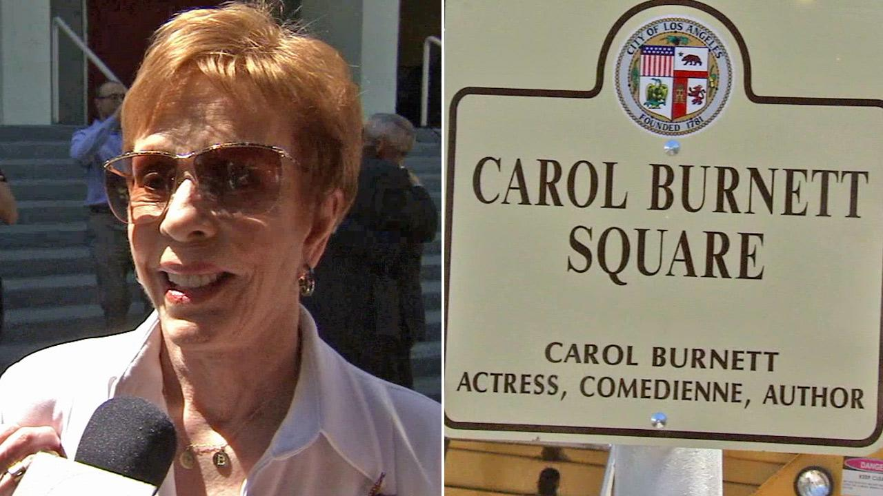 Actress Carol Bernett, left, speaks with Eyewitness News during a dedication of Carol Burnett Square on Wednesday, April 17, 2013.