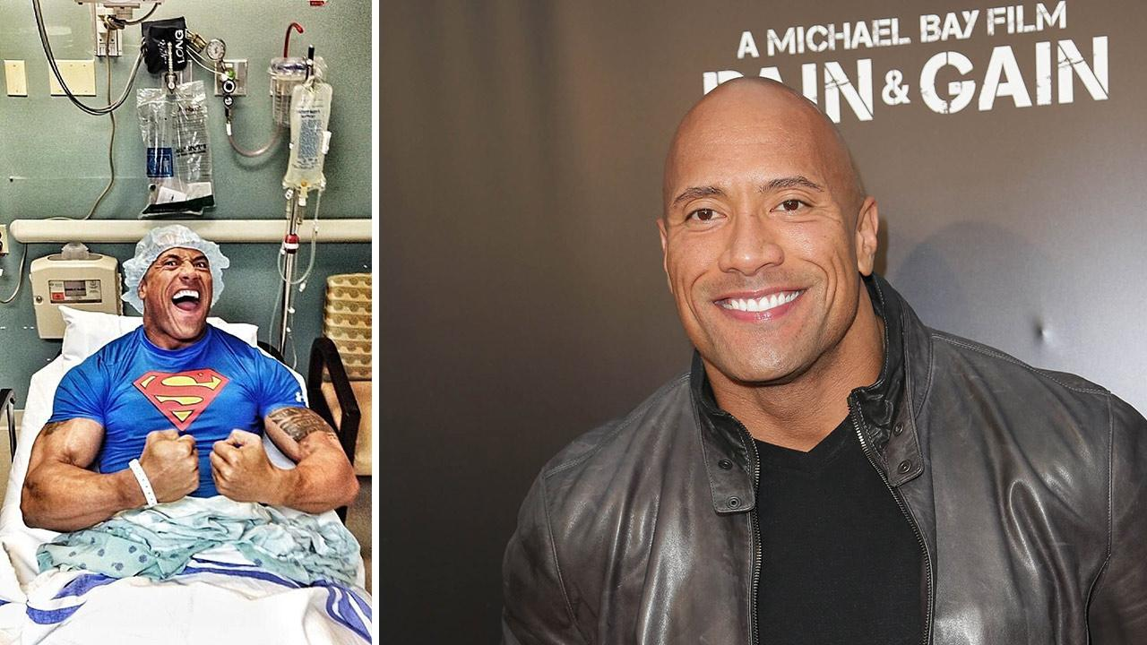 Dwayne Johnson appears in a photo posted on his Twitter page on April 23, 2013. He is seen on a hospital bed. The Rock underwent hernia surgery the previous evening. / Dwayne Johnson appears at the Pain & Gain premiere in Miami on April 11, 2013.