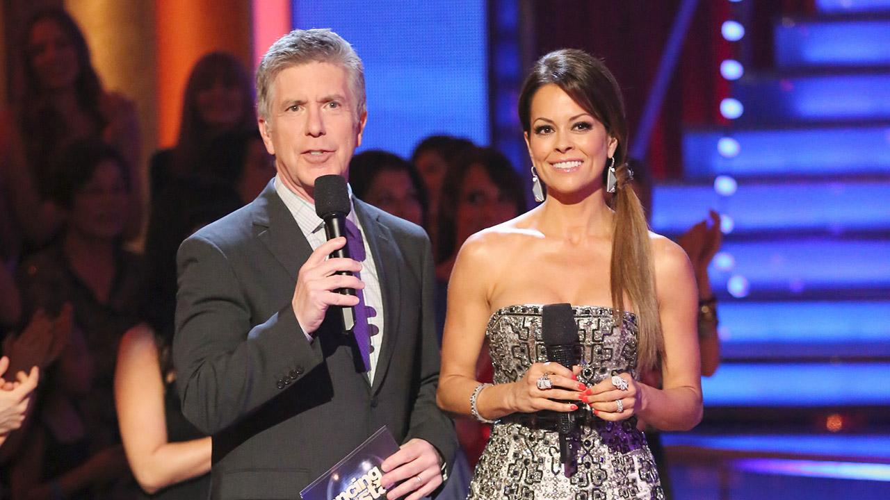 Tom Bergeron and Brooke Burke-Charvet appear on ABCs Dancing With The Stars on April 22, 2013.