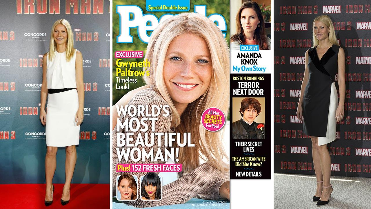 Gwyneth Paltrow attends Iron Man 3 photo call in Munich, Germany on April 12, 2013. / Gwyneth Paltrow graces the cover of Peoples 2013 Most Beautiful issue. / Gwyneth Paltrow attends an Iron Man 3 press conference in London on April 17, 2013.