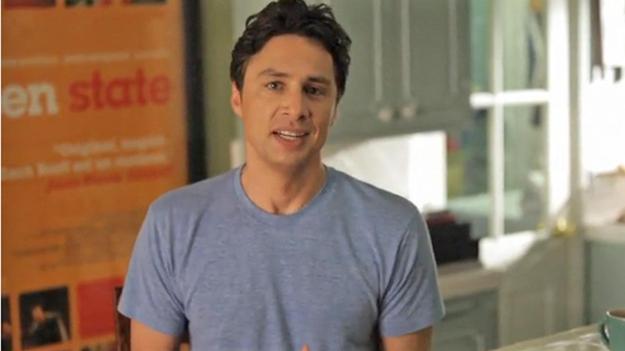 Zach Braff appears in a video posted on the Wish I Was Here Kickstarter campaign website on April 24, 2013.