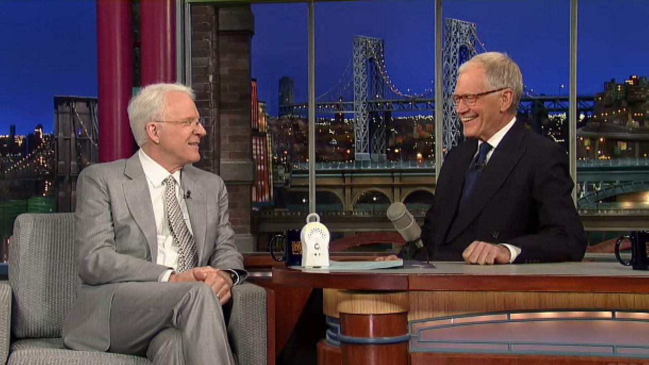 Steve Martin appears on The Late Show with David Letterman on April 23, 2013.