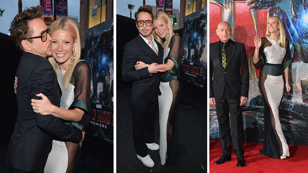 Robert Downey Jr. and Gwyneth Paltrow attend Marvels Iron Man 3 premiere at the El Capitan Theatre in Hollywood, California on April 24, 2013 in Hollywood, California. / Pictured right: Paltrow and Ben Kingsley.