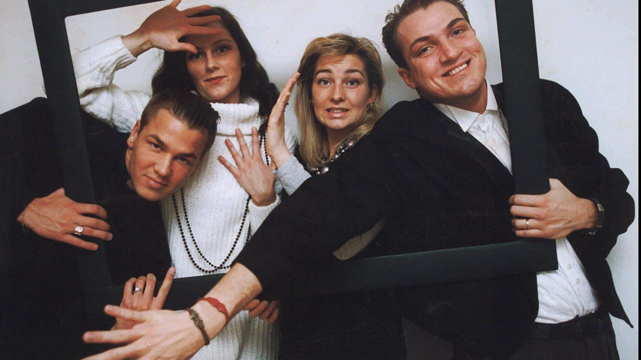 L-R: Ace of Base members Ulf Ekberg, Jenny Berggren, Malin Berggren and Jonas Berggren appear in a 1993 publicity photo.