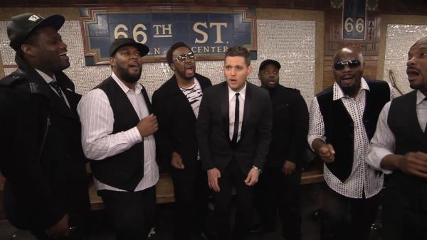 Michael Buble appears in a video posted on his YouTube page that shows him and vocal group Naturally 7 performing in a New York City subway station on April 25, 2013. - Provided courtesy of youtube.com/user/MichaelBubleTV