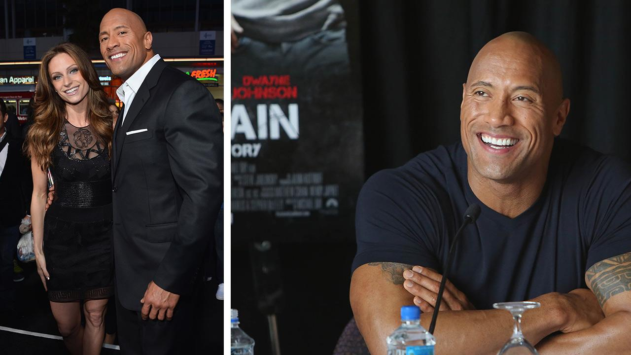 Dwayne Johnson and girlfriend Lauren Hashian attend the premiere of Paramount Pictures G.I. Joe: Retaliation in Hollywood on March 28, 2013. / Dwayne Johnson appears at a press conference at the Miami premiere of Pain and Gain on April 11, 2013.