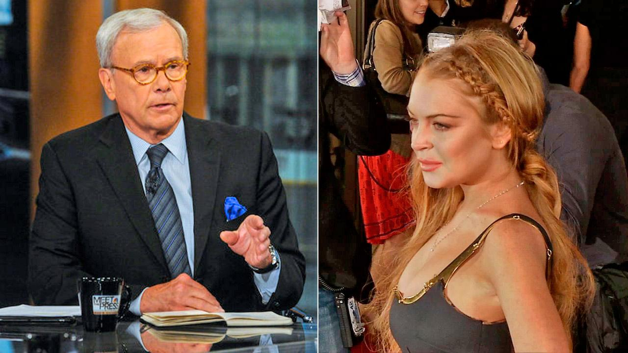 Tom Brokaw appears on an episode of Meet the Press on April 21, 2013. / Lindsay Lohan wore a Game of Thrones braided hairstyle at the Scary Movie 5 premiere in Los Angeles on April 11, 2013.