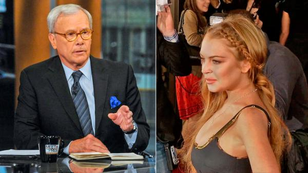 Tom Brokaw appears on an episode of Meet the Press on April 21, 2013. / Lindsay Lohan wore a Game of Thrones braided hairstyle at the Scary Movie 5 premiere in Los Angeles on April 11, 2013. - Provided courtesy of William B. Plowman/NBC / OTRC.com