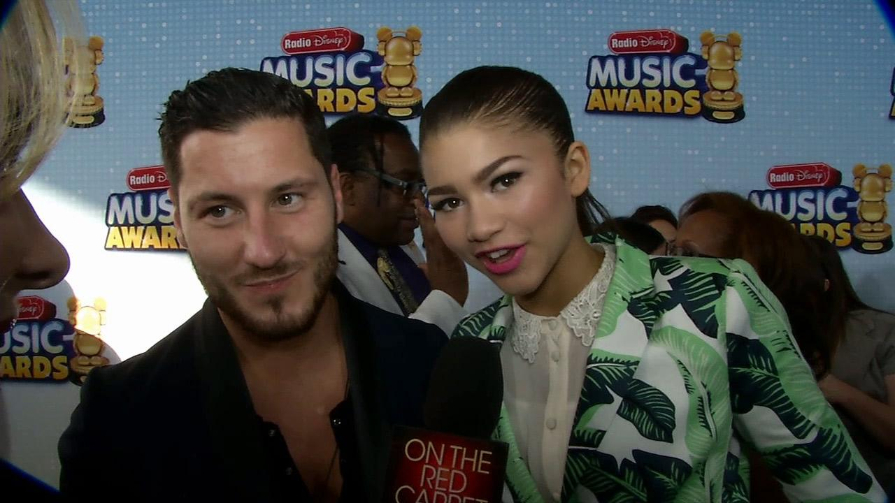 Zendaya and Val Chmerkovskiy, her Dancing With The Stars partner, talk to OTRC.com at the 2013 Radio Disney Music Awards at the Nokia Theatre L.A. Live on April 27, 2013. The event will air on the Disney Channel and on Radio Disney on May 4.