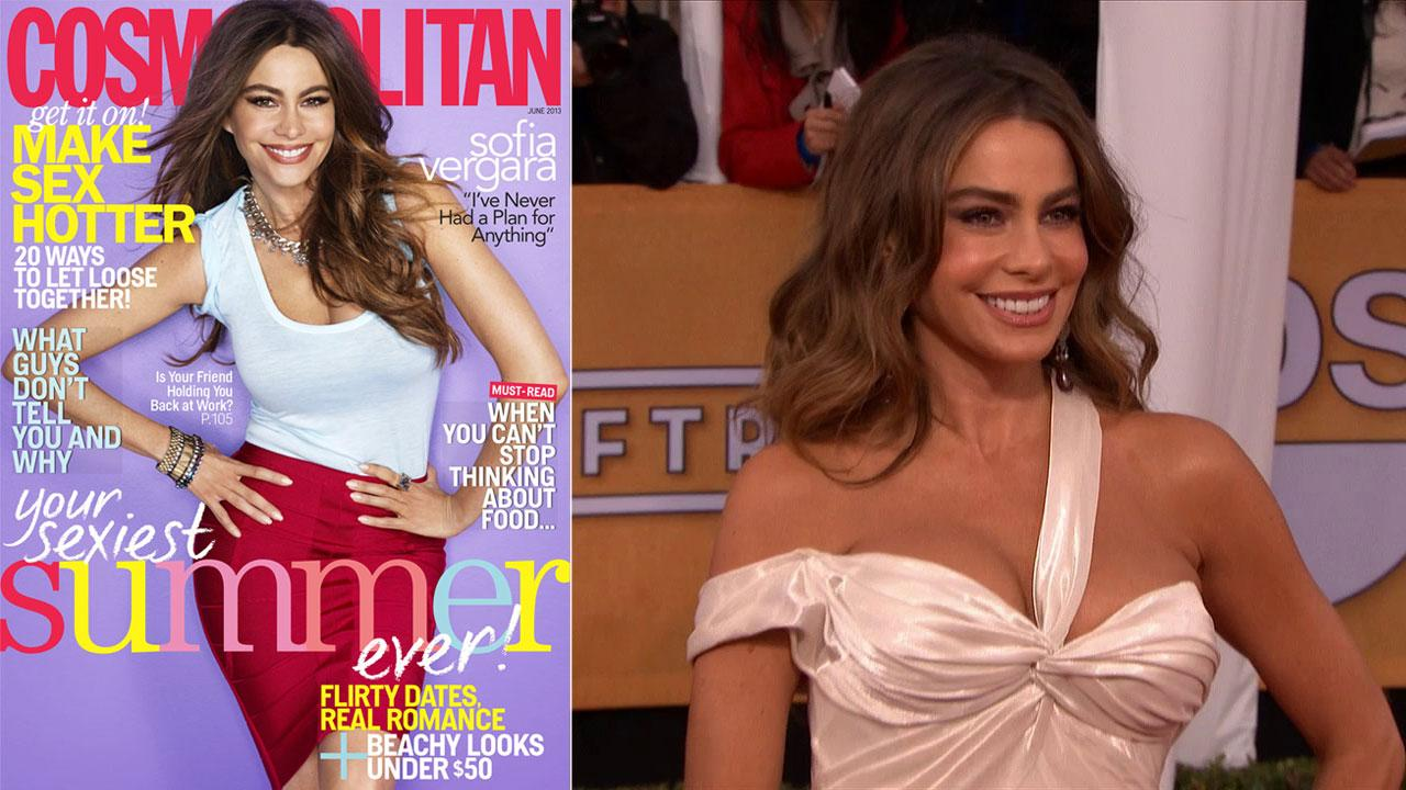 Sofia Vergara appears on the June 2013 issue of Cosmopolitan magazine. / Sofia Vergara (Modern Family) poses on the red carpet at the 2013 SAG Awards in Los Angeles on Jan. 27, 2012.