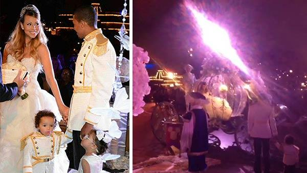 Mariah Carey and Nick Cannon are seen in wedding attire at Disneyland on April 30, 2013. / Mariah Carey makes a grand entrance to the wedding vow renewal ceremony. - Provided courtesy of twitter.com/MariahCarey/status/329578304510238720/photo/1 / pic.twitter.com/hfLA3LMjtZ / vine.co/v/bQuZxh1eaWh