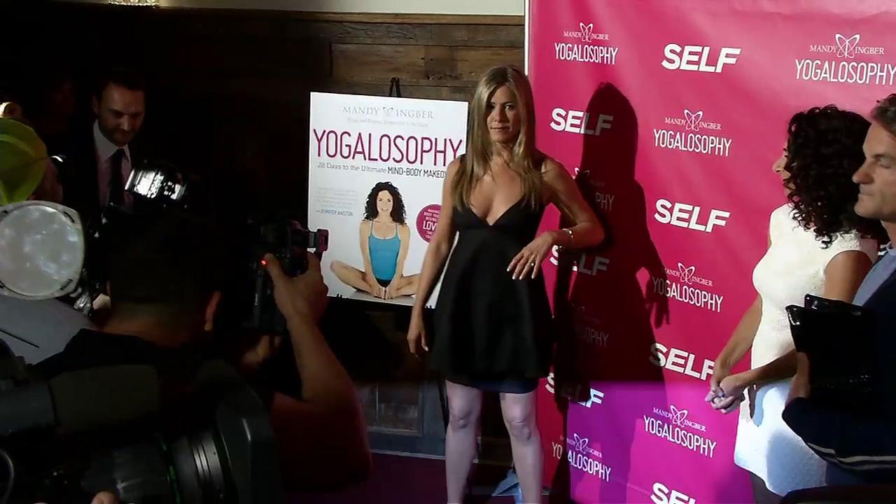 Jennifer Aniston appears at an event promoting her longtime friend and yoga instructor Mandy Ingbers new book, Yogalosophy: 28 Days to the Ultimate Mind-Body Makeover, on April 30, 2013 at the Soho House in West Hollywood, California.