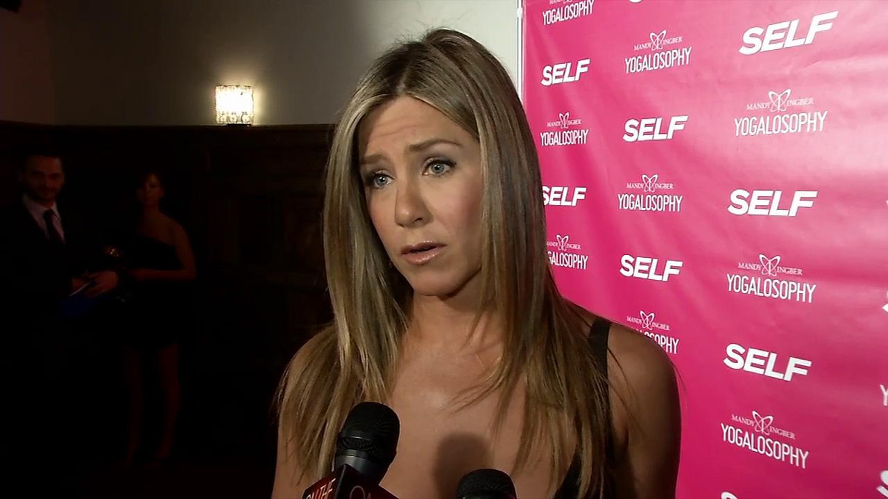 Jennifer Aniston talks to OTRC.com at an event promoting her longtime friend and yoga instructor Mandy Ingbers new book, Yogalosophy: 28 Days to the Ultimate Mind-Body Makeover, on April 30, 2013 at the Soho House in West Hollywood, California.