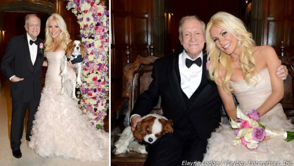 Hugh Hefner and Crystal Harris posed with their Cavalier King Charles Spaniel Charlie for an official wedding photo. The two tied the knot at the Playboy Mansion on Dec. 31, 2012 -- New Year's Eve.