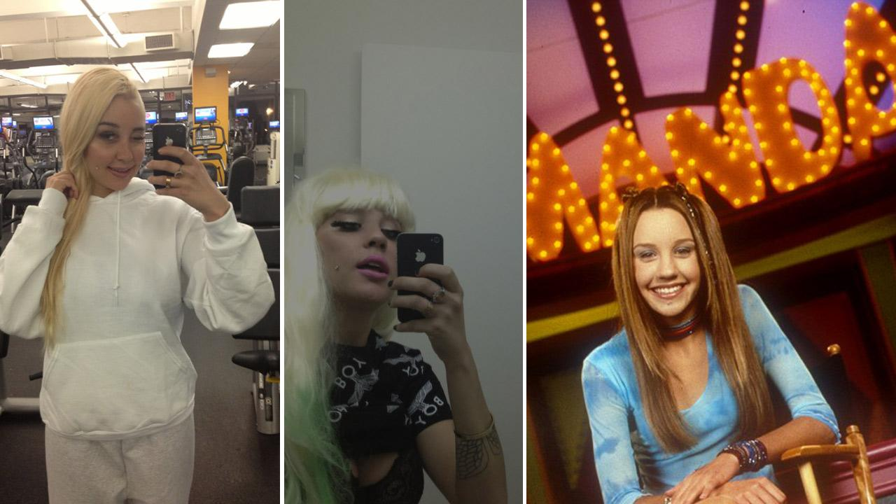 Amanda Bynes appears in photos posted on her Twitter page on April 28, 2013 and on May 2, 2013. / Amanda Bynes appears in a publicity photo for the Nickelodeon series The Amanda Show, which aired between 1999 and 2002.