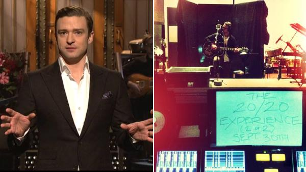 Justin Timberlake appears on the March 9, 2013 episode of Saturday Night Live. / Justin Timberlake posts an album release date on Instagram on May 6, 2013. - Provided courtesy of NBC / Instagram