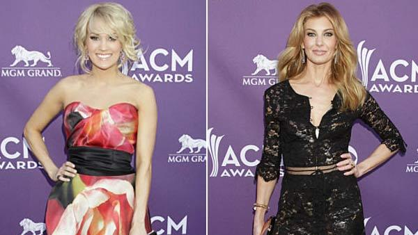 Carrie Underwood and Faith Hill appear on the red carpet at the 48th annual Academy of Country Music (ACM) Awards. - Provided courtesy of Francis Specker / CBS