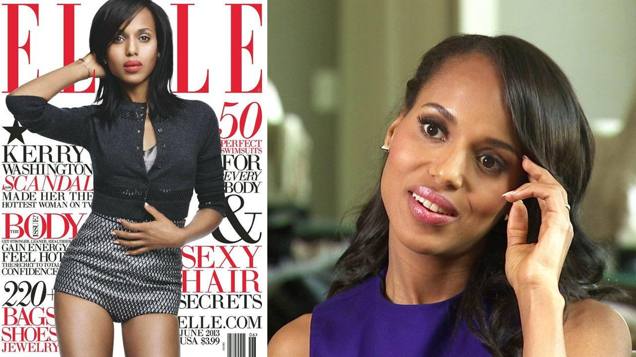 Kerry Washington appears on the cover of the June 2013 issue of Elle magazine. / Kerry Washington talked to OTRC.com about the second season of her ABC drama series Scandal on Sept. 16, 2012.