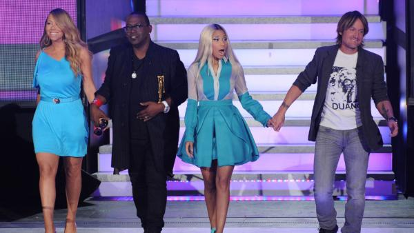 Randy Jackson, Mariah Carey, Nicki Minaj and Keith Urban appear during the April 3, 2013, episode of American Idol. - Provided courtesy of Michael Becker / FOX