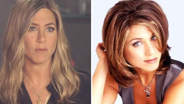Jennifer Aniston appears in a video for the Living Proof webseries Good Hair Day which was posted on Youtube on May 9, 2013. / Jennifer Aniston appears in a promotional photo for the series Friends. - Provided courtesy of NBC / Youtube.com/user/livingproof