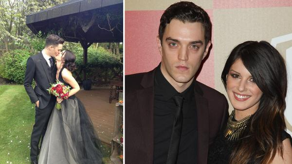 90210 actress Shenae Grimes and Josh Beech appear in their wedding attire in a photo posted on her Twitter page on May 10, 2013. / Josh Beech and Shenae Grimes attend the InStyle and Warner Bros. Golden Globe After Party on Jan. 13, 2013. - Provided courtesy of twitter.com/shenaegrimes/status/332891839512313856/photo/1 pic.twitter.com/YWMFvprqU9 / Matt Sayles / Invision / AP
