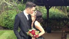 90210 actress Shenae Grimes and Josh Beech appear in their wedding attire in a photo posted on her Twitter page on May 10, 2013. / Josh Beech and Shenae Grimes attend the InStyle and Warner Bros. Golden Globe After Party on Jan. 13, 2013. - Provided courtesy of twitter.com/shenaegrimes/status/332891839512313856/photo/1 pic.twitter.com/YWMFvprqU9