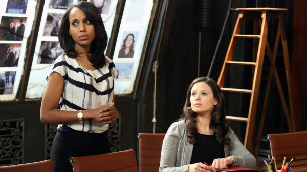 Kerry Washington and Katie Lowes appear in an April 2013 episode of Scandal. - Provided courtesy of OTRC / ABC/Richard Cartwright