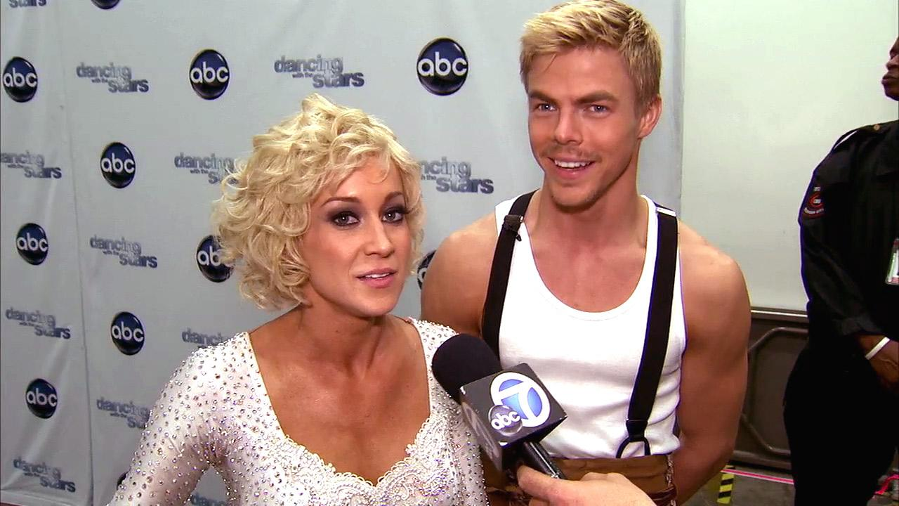 Dancing With The Stars contestants Kellie Pickler and Derek Hough talk to OTRC.com after season 16s ninth week of performances on May 13, 2013.