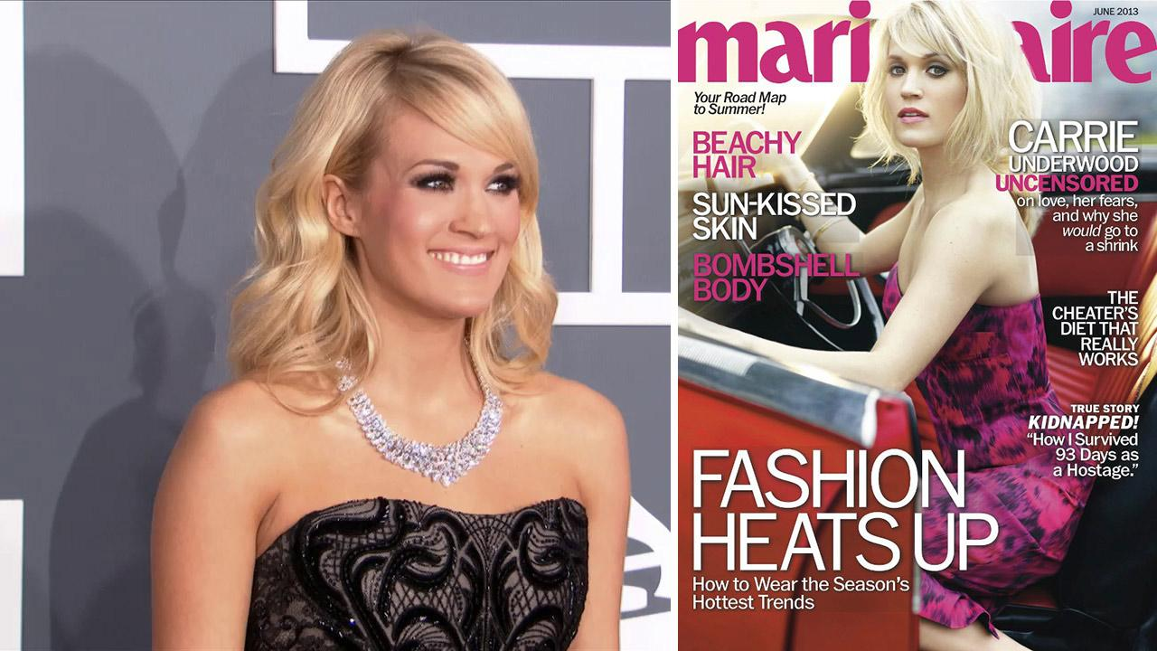 Carrie Underwood wears a $31 million necklace at the 2013 Grammys on Feb. 10, 2013. / Carrie Underwood appears on the cover of Marie Claire magazines June 2013 issue.