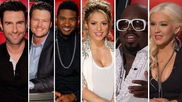L-R: The Voice coaches Adam Levine, Blake Shelton, Usher, Shakira, CeeLo Green and Christina Aguilera appear on the NBC show in 2012 and 2003. - Provided courtesy of Trae Patton / NBC