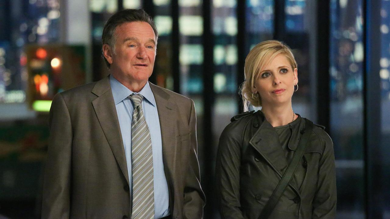Robin Williams and Sarah Michelle Gellar appear in a publicity photo for the CBS comedy series The Crazy Ones, set to premiere in the fall of 2013.