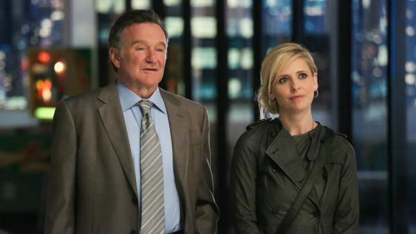 Robin Williams and Sarah Michelle Gellar appear in a publicity photo for the CBS comedy series The Crazy Ones, set to premiere in the fall of 2013. - Provided courtesy of CBS
