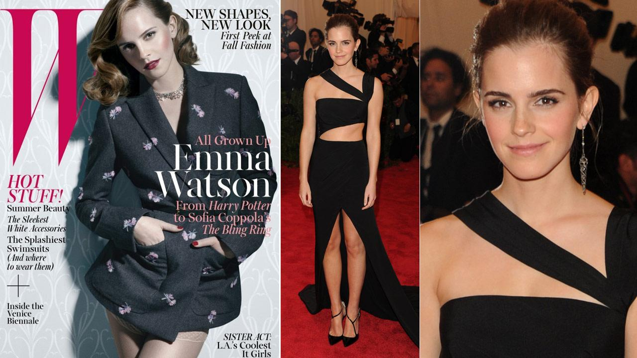 Emma Watson appears on the cover of W magazine for the June 2013 issue. / Actress Emma Watson attends The Metropolitan Museum of Arts Costume Institute benefit celebrating PUNK: Chaos to Couture on Monday, May 6, 2013 in New York.
