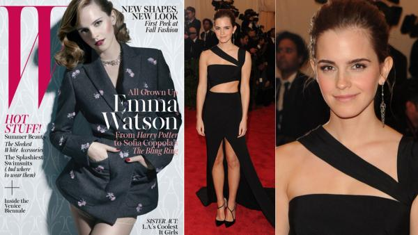 Emma Watson appears on the cover of W magazine for the June 2013 issue. / Actress Emma Watson attends The Metropolitan Museum of Arts Costume Institute benefit celebrating PUNK: Chaos to Couture on Monday, May 6, 2013 in New York. - Provided courtesy of W magazine / Evan Agostini / AP