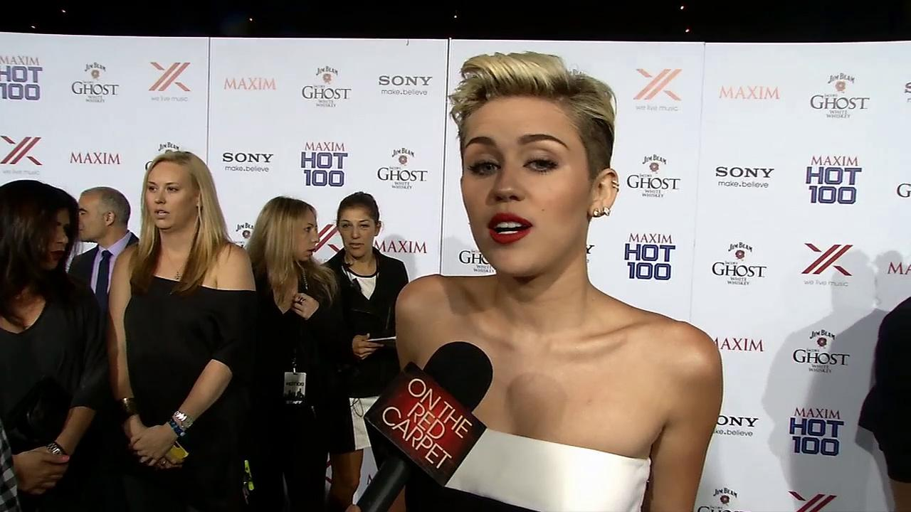 Miley Cyrus talks to OTRC.com at the Maxim Hot 100 women event on May 16, 2013. She was deemed the magazines Hottest Woman.