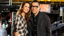 Kristen Wiig appears in a promotional photo with Fred Armisen for the May 11, 2013 episode of Saturday Night Live. - Provided courtesy of Dana Edelson/NBC