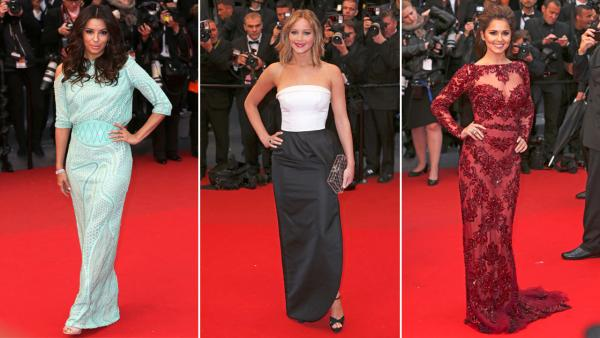 Jennifer Lawrence, Eva Longoria and Cheryl Cole pose for photographers on the red carpet for the screening of the film Jimmy P. Psychotherapy of a Plains Indian at the 66th international film festival, in Cannes, southern France, Saturday, May 18, 2013. - Provided courtesy of Joel Ryan/Invision/AP