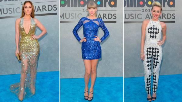 Jennifer Lopez, Taylor Swift and Miley Cyrus all dazzled in sequined looks at the 2013 Billboard Music Awards on May 19. - Provided courtesy of ABC
