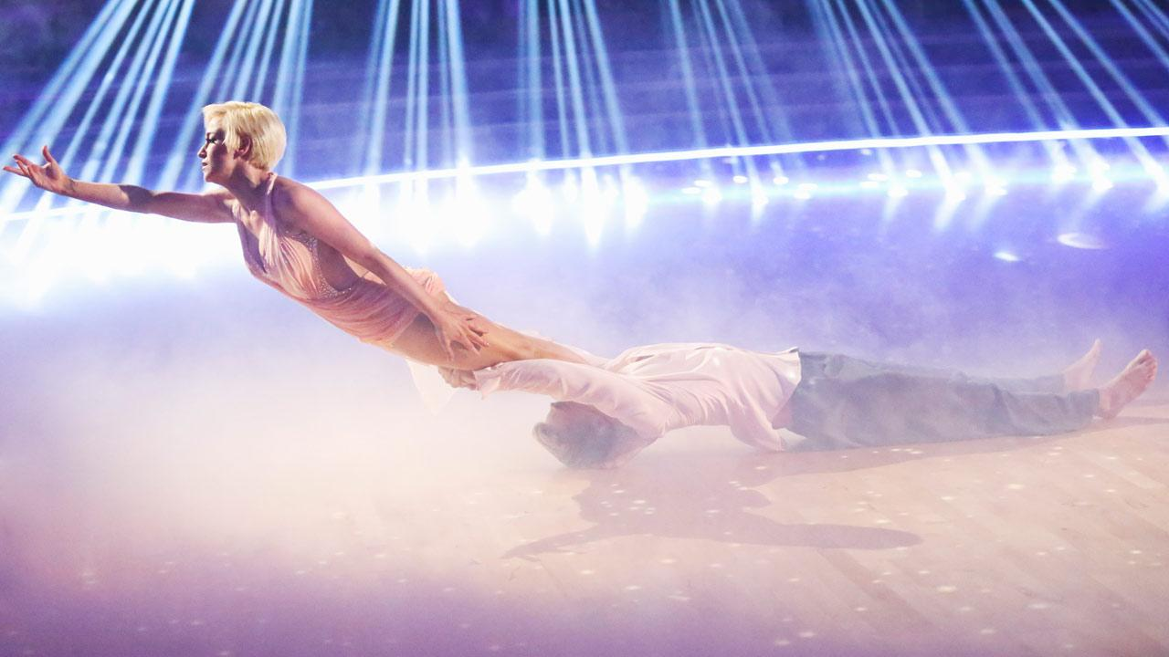 Kellie Pickler and her partner Derek Hough appear during their Freestyle routine on Dancing With The Stars on May 20, 2013.