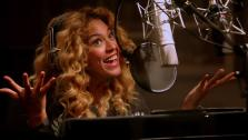 Beyonce records lines for her character, Queen Tara, for the 2013 animated film Epic. - Provided courtesy of Twentieth Century Fox Animation