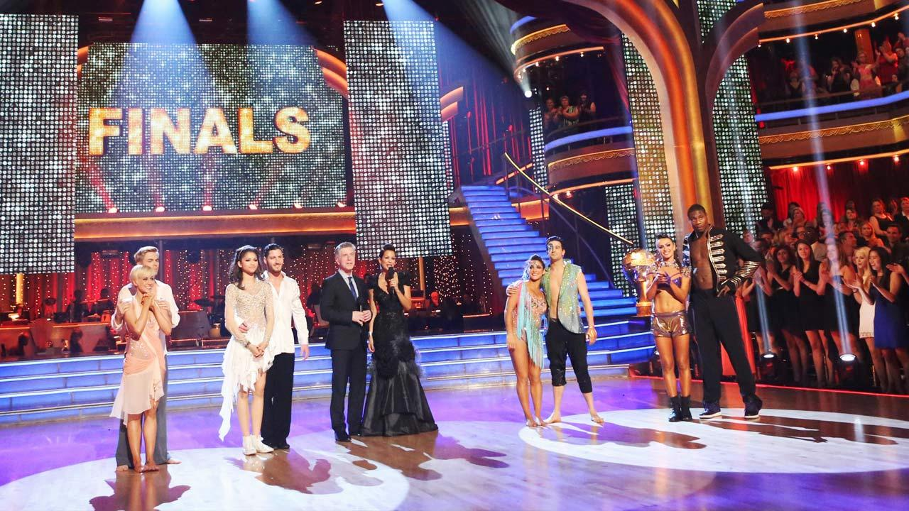 The four finalists -- Kellie Pickler, Zendaya, Jacoby Jones and Aly Raisman -- and their partners appear on ABCs Dancing With The Stars on May 20, 2013, a day before the season 16 finale.