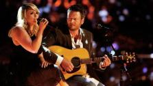 Miranda Lambert and Blake Shelton perform Over You on The Voice on May 21, 2013. - Provided courtesy of Trae Patton / NBC