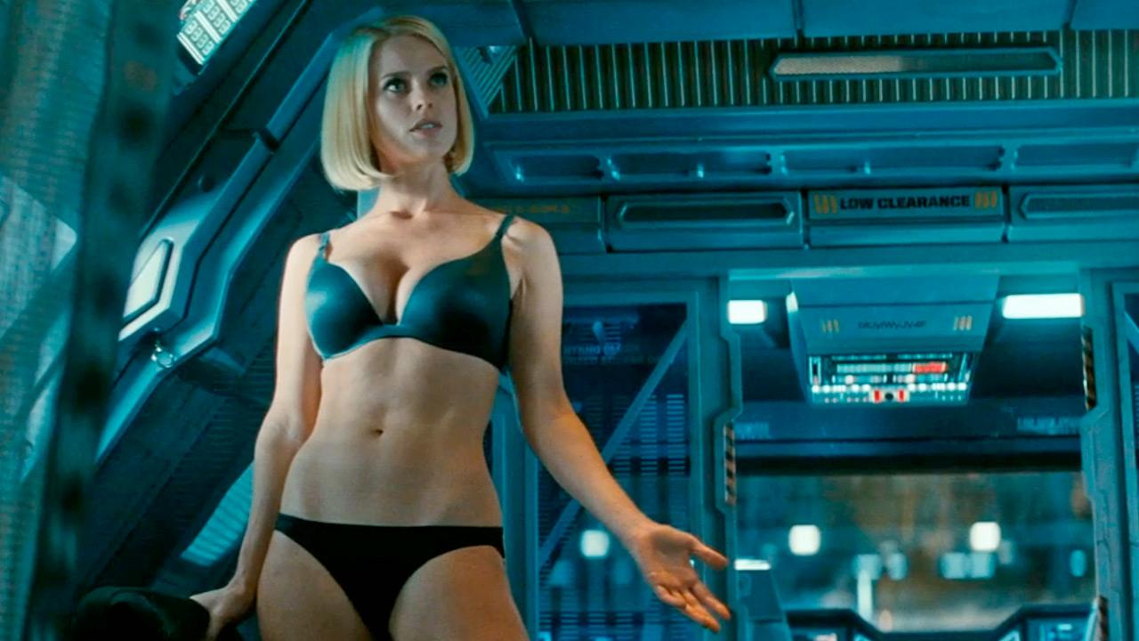 Alice Eve appears in a scene from the 2013 movie Star Trek Into Darkness.