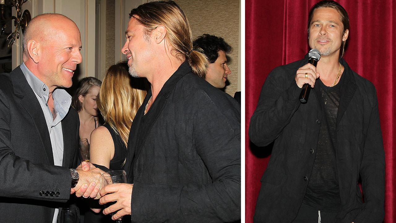 Co-host Brad Pitt and actor Bruce Willis appear at an after party following a special tastemaker screening of Paramount Pictures new film World War Z at The Museum of Modern Art in New York on Wednesday, May 22, 2013.