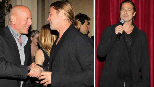 Co-host Brad Pitt and actor Bruce Willis appear at an after party following a special tastemaker screening of Paramount Pictures new film World War Z at The Museum of Modern Art in New York on Wednesday, May 22, 2013. - Provided courtesy of Dave Allocca / Startraks for Paramount Pictures